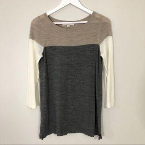 Loft cream/grey wool blend sweater top